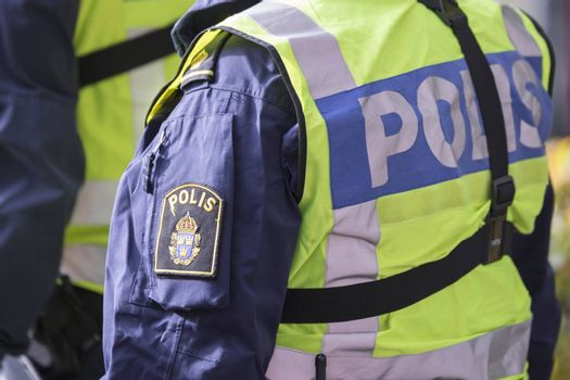 Swedish Police Officer with Reflective Vest.