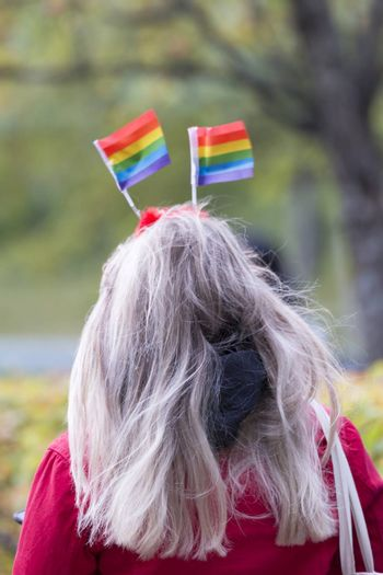 Female with Rainbow Pride Flags in her Hair.