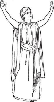Woman standing, vintage illustration