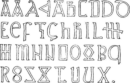 Romanesque Alphabet, vintage illustration.