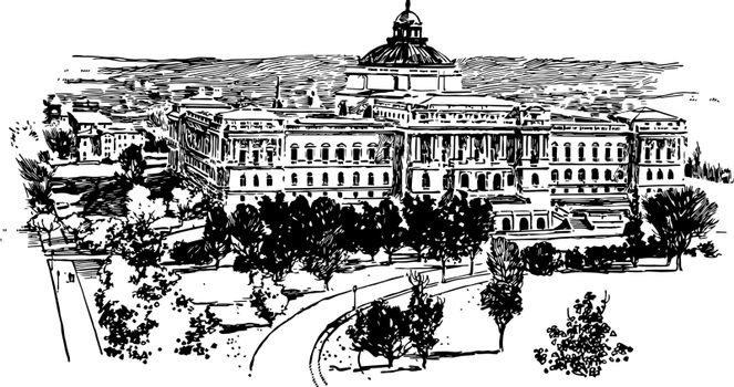 The Congressional Library vintage illustration