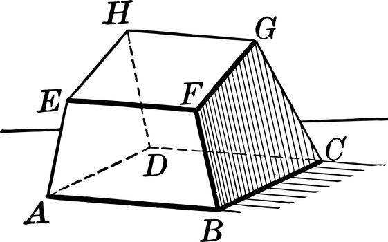 Hexahedron vintage illustration.