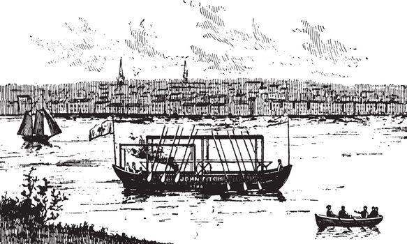 John Fitch steamboat, vintage illustration.