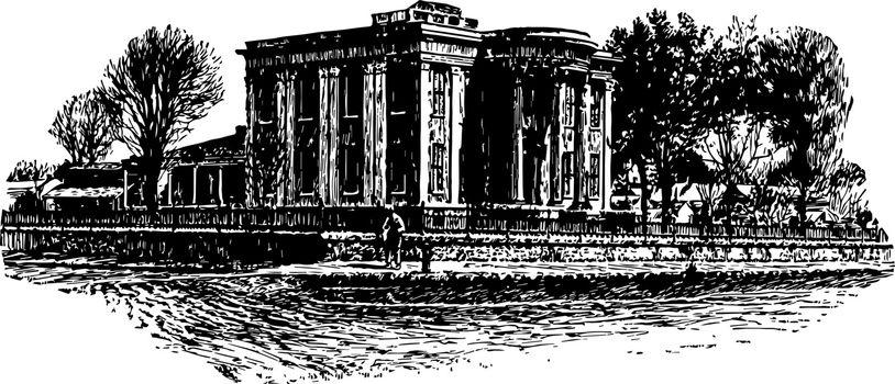 Governor's Mansion at Jackson, Miss. vintage illustration