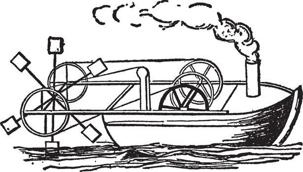 Steamboat of 1736, vintage illustration.
