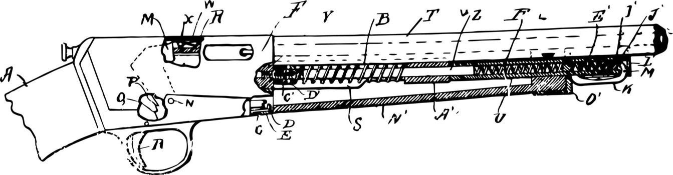 Portable Firearm, vintage illustration.