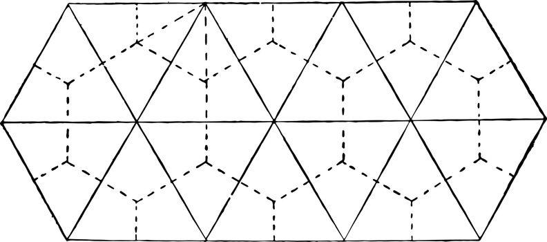Contraction Prisms vintage illustration.