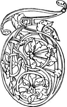 Romanesque of T, vintage illustration.