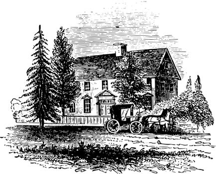 Governor Jonathan Trumbull House vintage illustration