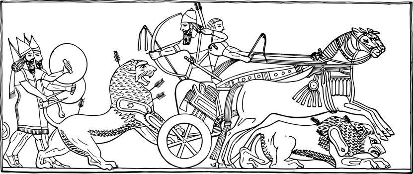 Assyrian Bas vintage illustration.