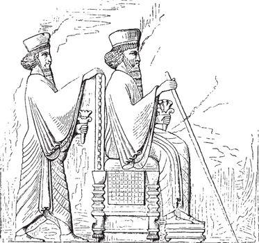Persian bas relief, vintage illustration.