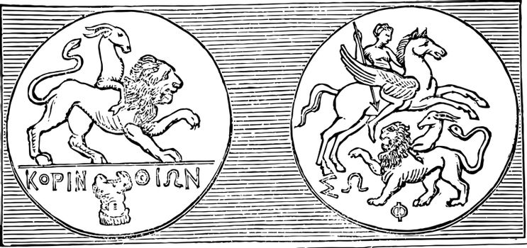 This image shows the Corinthian medal. That medal indicates the different types of animals like the winged lion, vintage line drawing or engraving illustration.