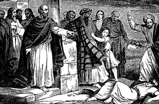 Ananias Struck Dead after Lying vintage illustration.
