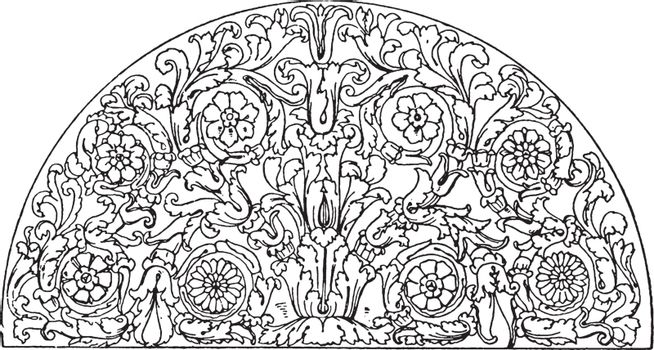 Roman Lunette Panel is a semicircle typically found on door-head
