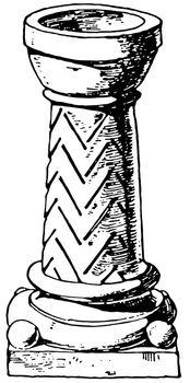 Romanesque Stoup vintage illustration.