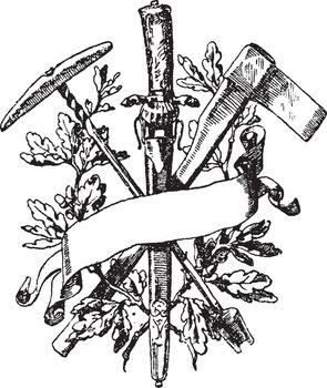 Forestry Symbol have been ever-present in myth, vintage engravin