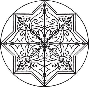 Arabic Koran Star-Shape Panel is a 17th century decoration, vint