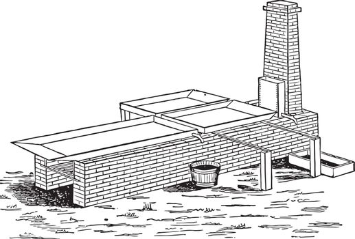 Intermittent evaporation process, vintage illustration.