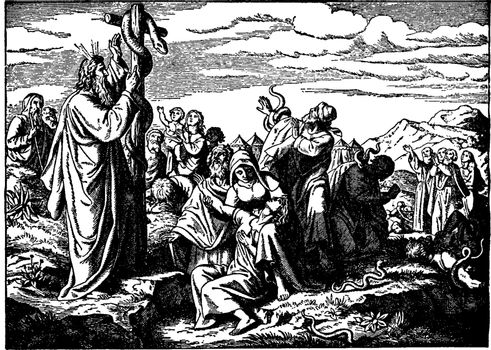 The Brazen Serpent and the Healing of the Israelites vintage ill