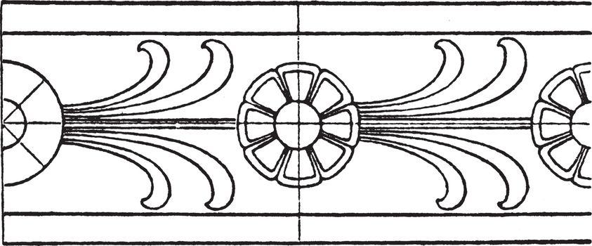 Antique Rosette Band has a double line border, vintage engraving