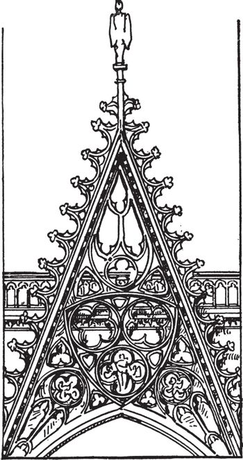 Openwork Gable, From Front of Rouen Cathedral, vintage engraving