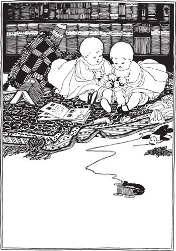 Twin Babies fighting over a doll, vintage line drawing or engraving illustration.