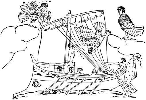 Ulysses and Sirens vintage illustration.
