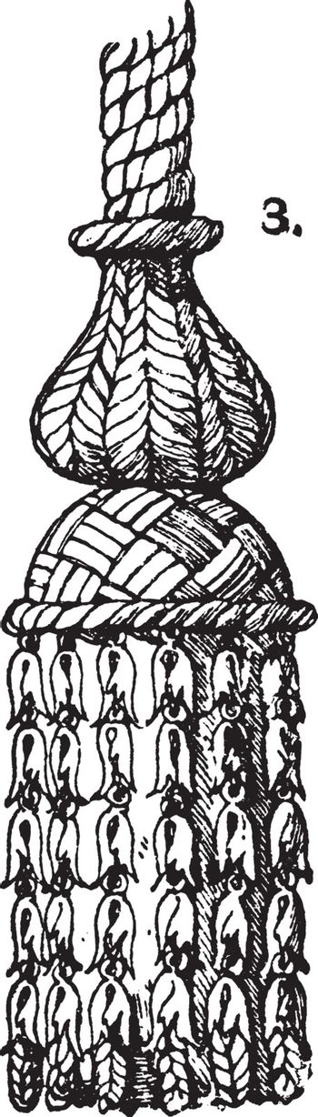 A tuft of threads or cords hanging straight down, vintage engrav