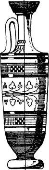 Greek Lekythos is elongated and cylindrical, vintage engraving.