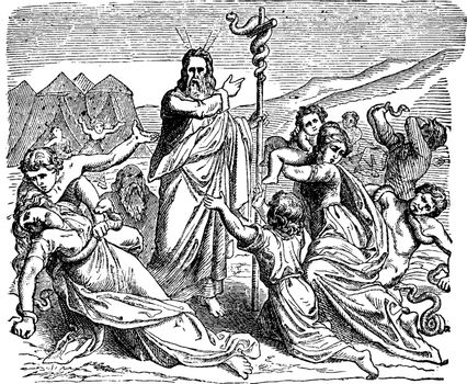 Moses and the Serpent of Brass vintage illustration.