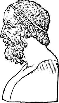 Bust of Homer, vintage illustration