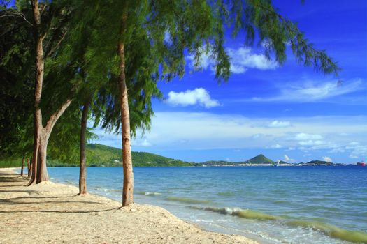 Clear blue sea at Dongtan beach Sattahip Chonburi at Thailand.