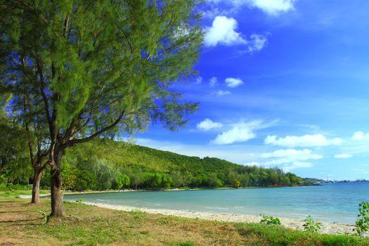Clear blue sea at Tien talay beach Sattahip Chonburi at Thailand