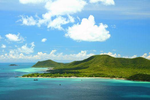 Beautiful blue seascape at Samaesan island Chonburi province, Gu