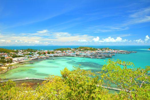 Top view seascape of Samaesan village Chonburi at Thailand.