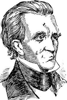 James Polk, vintage illustration