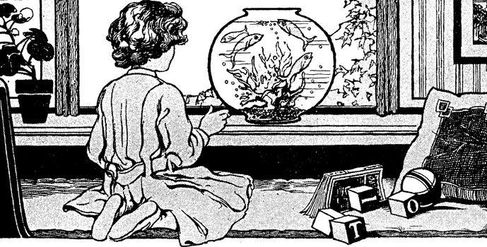 Girl and fishbowl, vintage illustration.