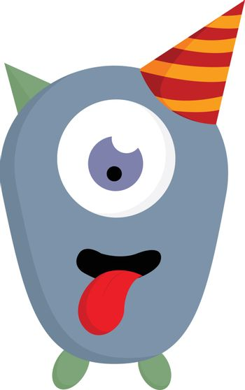 One eyed monster in a birthday hat, vector color illustration.