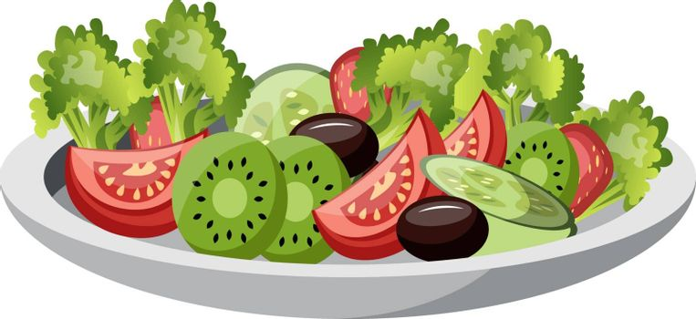 A Plate filled with fruits- grapes strawberries and kiwi fruits vector color drawing or illustration.