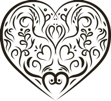 A beautiful black ornament heart, vector, color drawing or illustration.