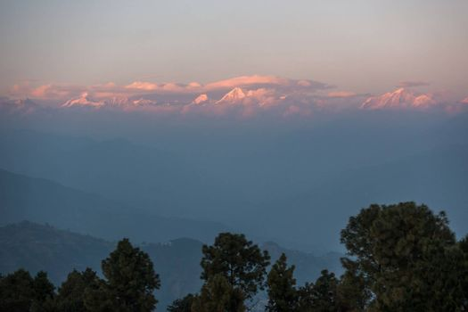 Sunset view of the Himalayas from Nagarkot in the Kathmandu Valley, Nepal