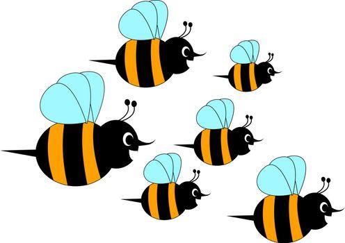 Bee horde, illustration, vector on white background.
