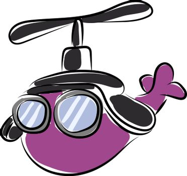 Purple helicopter with glasses, illustration, vector on white background.