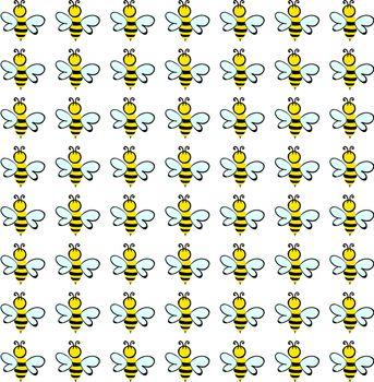 Bee wallpaper, illustration, vector on white background.