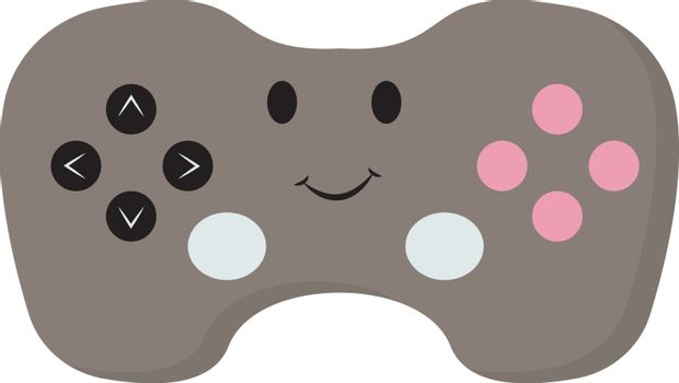 Gamepad with eyes, illustration, vector on white background.