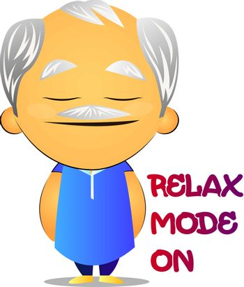 Relaxed old man, illustration, vector on white background.