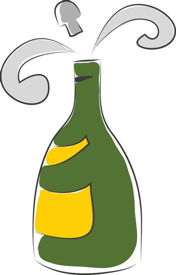 Simple vector illustration of a green champagne flask with yello