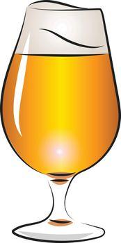 Glass of orange ale beer vector or color illustration