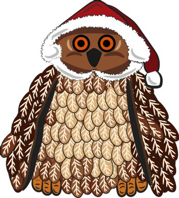 A brown owl is decorated in the Christmas themed clothes vector color drawing or illustration