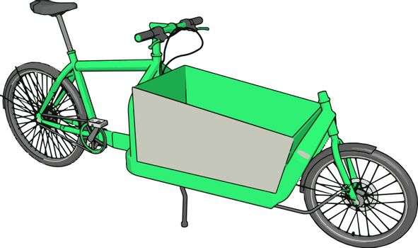 A dual purpose cycle with trolley vector or color illustration